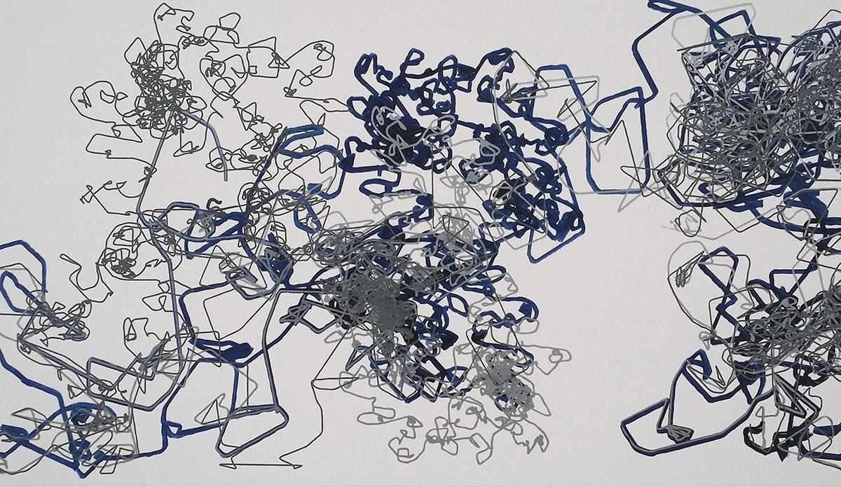 Machining Emotion #06 | robotic painting | acrylic marker on canvas | 110x190cm | RDM Campus 2015