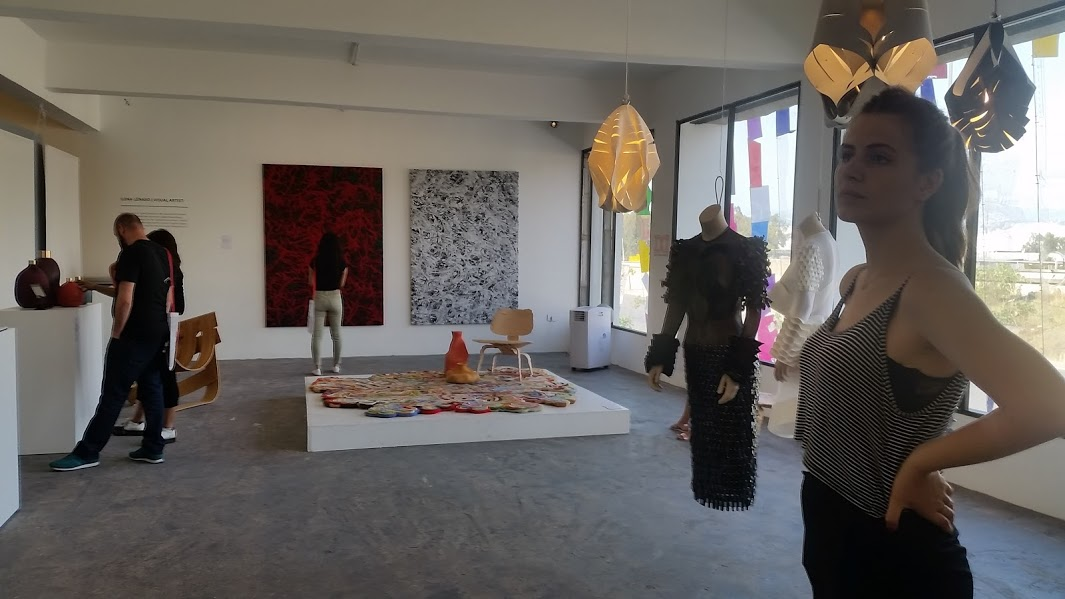 my Omniverse tapestries in the back of the exhibition space at the KED